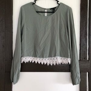 Forever 21 Boho Cropped Top Khaki Green Lace